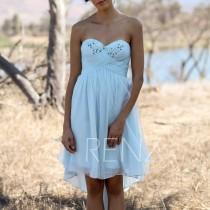wedding photo - 2016 Light Blue Bridesmaid dress Short, Beaded Sweetheart Wedding dress, Strapless High Low Formal dress, Prom dress knee length (LS040A)
