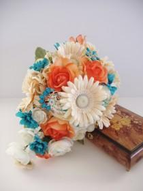 wedding photo - Silk BROOCH Bouquet, ON SALE, Turquoise Blue Coral  Wedding, Real Touch Roses, Cascade Wedding Bouquet, Ready To Ship