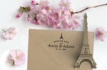 wedding photo - Custom Paris Save the Date Rubber Stamp with Names, Date and Eiffel Tower