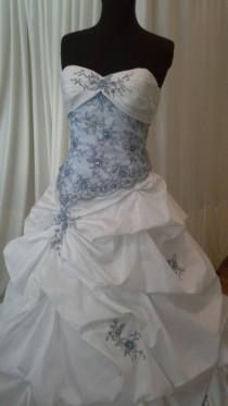 "wedding photo - White and blue ""fairytale"" ballgown/wedding dress"