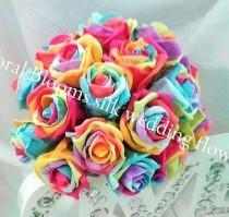 wedding photo - Rainbow Rose Silk Bridal Wedding Bouquet