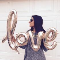 wedding photo - LOVE Balloon - rose gold love balloon. Bridal Shower Decor - Engagement Party Decor - Wedding Balloons - Bachelorette Party Decor