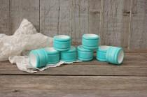 wedding photo - Napkin Rings, Shabby Chic, Aqua, Turquoise, White, Wood, Distressed, Set of 8, Wedding, Hand Painted, Painted Napkin Rings, Napkin Holders