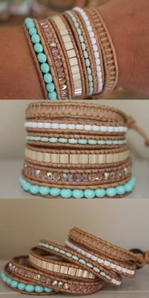 wedding photo - 6 Layer Leather Wrap bracelet , pastel wedding colors, summer spring bracelet, trending gift
