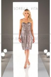 wedding photo - Sorella Vita Sequin Bridesmaid Dress Sweetheart Neckline Style 8833
