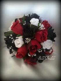 wedding photo - Black White Red ROSES Bridal BOUQUET Bridesmaid Silk Wedding Flowers