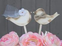 wedding photo - Love Bird Wedding Cake Toppers, Rustic Lovebird Cake Topper, Wood Burlap Bow Lovebirds, Wooden Shabby Chic Country Topper, Cupcake Picks