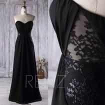 wedding photo - 2016 Black Chiffon Bridesmaid Dress, Strapless Lace Wedding Dress, Backless A Line Prom Dress, Long Evening Gown Floor Length (L158)