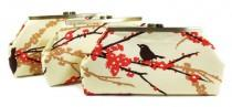 wedding photo - Bridesmaids Clutches Choose Your Fabric Orange Set of 5