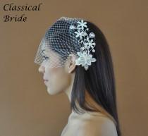 wedding photo - Bandeau 73 -- Veil Set w/ SILVER PEARL FLOWER Hair Comb & Ivory or White Birdcage Blusher 9 Inch Veil for wedding bridal accessory