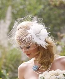 wedding photo - Wedding Headpiece - Ivory White Birdcage Veil - Flower Hair Accessory - Blusher Veil - Pearl Brial Accessory - Feather Fascinator