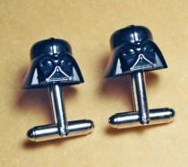 wedding photo - Groomsmen Gift, Wedding, Darth Vader Cuff Links, silver toned cufflinks, Star Wars, made with LEGO (R) Bricks