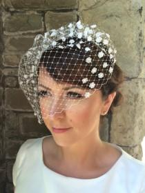 wedding photo - Blossom birdcage veil - floral birdcage veil - lace bridal headpiece - wedding hair accessory