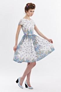 wedding photo - 1950s floral dress Tea party dress women 50s Retro dress Prom dress 50s vintage inspired dress Blue 50s dress Dress 50s style Handmade Dress