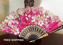 wedding photo - Antique Look Silk Fans Handpainted Victorian Summer Wedding Hand Fan Spanish Folding Fan Boho Wedding Fan Best Friend Gift Birthday Lingerie
