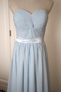 wedding photo - Light Blue Short/Floor Length Sweetheart Bridesmaid Dress Baby Blue Chiffon Strapless Bridesmaid Dress - Custom Dress
