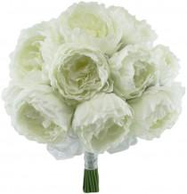 wedding photo - Ivory Silk Peony Hand Tie (24 Peonies) - Bridal Wedding Bouquet