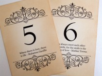 wedding photo - Love Quote Wedding Table Numbers, Vintage Quotes Table Numbers, Love Quote Wedding Table Signs, Love Quote Table Signage, Matching Items