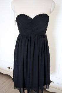 wedding photo - Black Short Sweetheart Bridesmaid Dress Knee-length Chiffon Black Strapless Bridesmaid Dress-Custom Dress