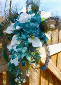 wedding photo - Cascading hydrangea calla lily bridal bouquet with orchids