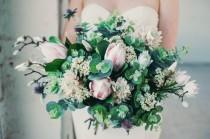 wedding photo - The 'Estelle' Disarrangement  - Pastel Pink Protea and Eucalyptus Keepsake Bouquet