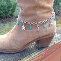 wedding photo - Silver Boot Bracelet, Charm Boot Bling, Western Boot Jewelry, Turquoise Bracelet, Cowgirl Boot Candy, Bracelets For Boots, Designs Jewerly