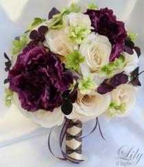 "wedding photo - 17 Piece Package Wedding Bridal Bride Maid Honor Bridesmaid Bouquet Boutonniere Silk Flower PLUM PURPLE GREEN Ivory ""Lily Of Angeles"" IVPU02"