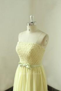 wedding photo - Strapless daffodil bridesmaid dress with elegant bow