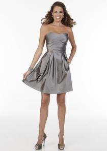 wedding photo - Strapless Satin Zipper Gray A-line Sleeveless Ruched Knee Length