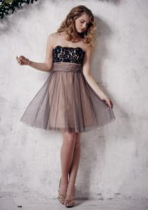 wedding photo - Strapless Tulle Zipper A-line Sleeveless Ruched Knee Length