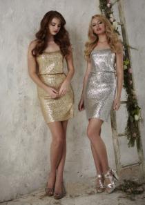 wedding photo - Gold Column Silver Strapless Beads Satin Sleeveless Knee Length