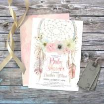 wedding photo - Dream catcher bohemian baby shower invitation. Digital. Tribal invites, feathers, boho, pastel dreamcatcher watercolor, baby girl. 002CMP