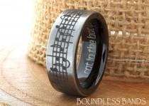 wedding photo - Tungsten Music Wedding Band Favorite Song Black And White Tungsten Ring Any Music Sheet Laser Engraving Band His Hers Customized Music Ring