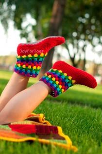 wedding photo - Girlfriend gift Crochet Boots Women Homemade Slippers Joy Rainbow Crocheted Slippers Women Fashion Shoes Gifts for her Green Trending Items