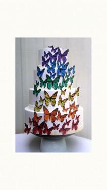 wedding photo - Edible Butterflies Wedding Cake Topper, Rainbow Edible Butterflies, Set of 48 DIY Cake Decor, Edible Cake Decorations, Cupcake Toppers