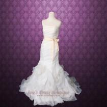 wedding photo - Strapless Organza Ruffle Mermaid Wedding Dress