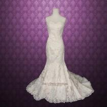 wedding photo - Vintage Inspired Strapless Sweetheart Lace Mermaid Wedding Gown