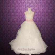 wedding photo - Strapless Princess Airy Tulle Ball Gown Wedding Dress with Floral Sash