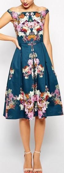 wedding photo - Vintage Midi Bardot Dress
