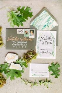 wedding photo - Hand-Painted Invitation Suite