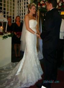 wedding photo - Elegant strapless lace sheath wedding bridal dresses