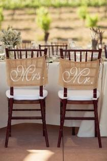 wedding photo - Burlap Wedding Chair Signs - Mr And Mrs Chair Signs -Wedding Decorations