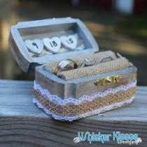 wedding photo - Rustic Wedding Ring Box ~ Engagement Proposal Box ~ Wooden Ring Box  ~ Burlap and Lace ~ Ring Holder, Ring Bearer, Ring Pillow, Personalized