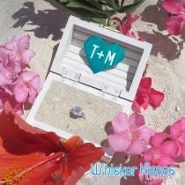wedding photo - Beach Wedding Ring Box, Small Proposal Box, Engagement, Personalized, Rustic, Ring Bearer, Ring Holder, Destination Wedding Ring Box