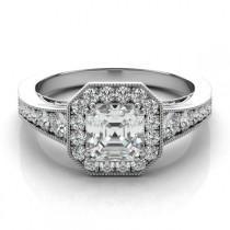 wedding photo - Asscher Cut Forever One Moissanite & Diamond Halo Ring, Moissanite Engagement Rings, Asscher Moissanite, Wedding Rings for Her