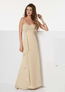 wedding photo - Strapless Champagne Sleeveless Ruched Chiffon Floor Length