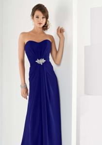 wedding photo - Strapless Sleeveless Blue Chiffon Ruched Floor Length