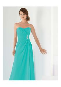 wedding photo - Ruched Blue Sleeveless Strapless Chiffon Floor Length