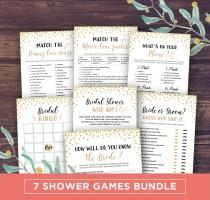 wedding photo - Bridal Shower Games Printable, Instant Download Wedding Shower Games Package, Bingo, Movie Quotes Match, Gold Glitter, Whats on your phone
