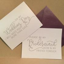 wedding photo - Will You Be My Bridesmaid Card Cards Maid of Honor Flower Girl Bridal Party Proposal { now and forever }